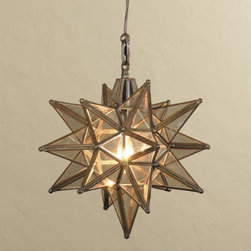Moravian Star Pendant Light - Add exotic appeal and geometry to your lighting scheme with a glass Moravian star pendant light.