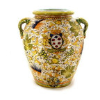 Artistica - Hand Made in Italy - MAJOLICA CAFFAGIOLO: Tuscan Orcio - CAFFAGIOLO Collection: The Caffagiolo pattern depicted in this item is a true Italian classic and certainly the most popular pattern from the Italian town of Deruta.