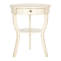 Safavieh - Kendra End Table Distressed Vanilla - The classically styled Kendra end table assumes a fashion edge with chic colors and finishes. Its round top and shelf supported by whimsical splayed legs look fresh and new with poplar wood in a country-style distressed vanilla finish. Great with reading lamps beside a sofa or chair, the Kendra end table transitions beautifully into the bedroom.