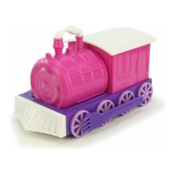 Chew Chew Train Child Dish Set Pink - Chew Chew Train Child Dish Set includes small plate, plate, bowl, fork, spoon, and cup that can all fit together to make a train.