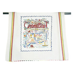 "CATSTUDIO - Connecticut State Dish Towel by Catstudio - This original design celebrates the state of Connecticut- the ""Constitution State""- in amazing detail.  This design is silk screened, then framed with a hand embroidered border on a 100% cotton dish towel/ hand towel/ guest towel/ bar towel. Three stripes down both sides and hand dyed rick-rack at the top and bottom add a charming vintage touch. Delightfully presented in a reusable organdy pouch. Machine wash and dry."