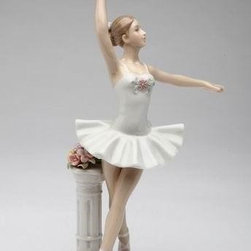 CG - Lady Ballerina in Point Pose by White Stand in White Dress Figurine - This gorgeous Lady Ballerina in Point Pose by White Stand in White Dress Figurine has the finest details and highest quality you will find anywhere! Lady Ballerina in Point Pose by White Stand in White Dress Figurine is truly remarkable.