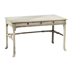 Uttermost - Uttermost Bridgely Aged Writing Desk - Bridgely Aged Writing Desk by Uttermost Plantation-grown Mango Wood Makes Up The Solid, Carved And Dovetail Construction With Deep-grained Mindi Veneer In An Aged White Finish With Antique Brass Drawer Pulls.