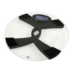"""American Weigh Scales - Digital Talk Scale Large LCD - Digital talking (Eng and Span) scale silent mode 396lb with capacity 0.2lb graduation weighs in kgs or lbs blue back-lit large LCD display (1.8""""x2.8"""") platform size 13""""x13"""" 2-AAA batteries included glass and black color. The 396TBS Talking Bathroom Scale from American Weigh features a pleasant recorded voice that announces your weight in English or Spanish. The feature can also be turned off if you prefer silent operation. The 396TBS makes is easy for those with poor eyesite to keep track of their personal fitness. The scale features a brilliant blue backlight which allows quick visual confirmation of the weight as well."""