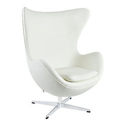 "LexMod - Glove Leather Lounge Chair in White - Glove Leather Lounge Chair in White - Delight in perfect symmetry with the harmonious Glove Chair. Designed with sprawling wing tips and amorphous form, the Glove Chair is a study of opposites built from the most exacting design specifications. Layered in fine Italian leather over a cozy foam frame, adorn yourself with precision as you embark on a more sophisticated state. Set Includes: One - Glove Chair in Aniline Leather High Density Foam Cushioning, Molded Fiberglass Frame, Luxurious Aniline Leather, Mirror Finished Aluminum Base, 360 Degree Swivel Overall Product Dimensions: 31.5""L x 35""W x 42.5""H Seat Height: 16""H - Mid Century Modern Furniture."