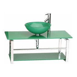 Renovators Supply - Console Sinks Glass/Stainless Console Sink Green Wall Mount - Glass Sinks: the Sea Breeze wall mount tempered glass green vessel sink package comes complete with faucet, drain, and p-trap. See site for detailed product measurements and information.