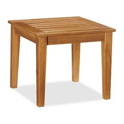 "Hampstead Teak Side Table - Crafted from top-quality premium teak, our Hampstead Side Table is designed to weather the elements in style. The dense, fine-grained hardwood is rich in natural oils, making it both durable and moisture resistant. The overhanging top and gently splayed legs are finished by hand with a light natural finish that protects and seals the wood. Click to read an article on {{link path='pages/popups/hampstead-care_popup.html' class='popup' width='640' height='700'}}recommended care{{/link}}. 21.5"" square, 18.5"" high Built from teak, a dense hardwood that's ideal for outdoor use. All exposed hardware has an antique brass finish. Simple assembly. View our {{link path='pages/popups/fb-outdoor.html' class='popup' width='480' height='300'}}Furniture Brochure{{/link}}."