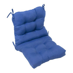 None - Outdoor Marine Blue Seat/ Back Chair Cushion - Enjoy this aqua-blue outdoor chair cushion anytime of year. It is water-resistant and will not fade from sun damage. Made of 100 percent polyester,the cushion is easy to spot-clean and can be counted on to perform for many years to come.