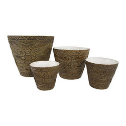 Set of 4 Friki Tiki Natural Nesting Planters Makaha Style - This set of planters is a great way to dress up your tropical plants, indoors and out! The largest pot is 8 inches in diameter, 7 3/4 inches tall, 1/2 inch thick, the 6 inch pot is 5 3/4 inches tall, 1/4 inch thick, the 4 inch pot is 4 1/4 inches tall, 1/8 inch thick, and the smallest pot is 3 1/2 inches in diameter, 3 3/4 inches tall, and 1/8 of an inch thick. Each one is made of cold cast resin, and textured to look as though they are carved from bamboo and feature Makaha style tiki faces. They are a cool accent to porches and patios, and are a must-have for tiki bars!
