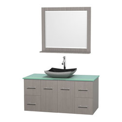"Wyndham Collection - Centra 48"" Grey Oak Single Vanity, Green Glass Top, Altair Black Granite Sink - Simplicity and elegance combine in the perfect lines of the Centra vanity by the Wyndham Collection. If cutting-edge contemporary design is your style then the Centra vanity is for you - modern, chic and built to last a lifetime. Available with green glass, pure white man-made stone, ivory marble or white carrera marble counters, with stunning vessel or undermount sink(s) and matching mirror(s). Featuring soft close door hinges, drawer glides, and meticulously finished with brushed chrome hardware. The attention to detail on this beautiful vanity is second to none."