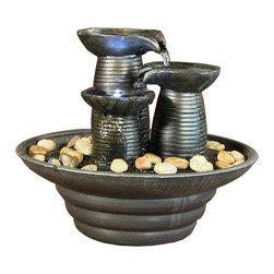 "Sunnydaze Decor - Three Pillars Pouring Table Fountain w/ LED Lights by Sunnydaze Decor - Dimensions: 9"" W x 7.5"" H x 9"" D; 1 lb"