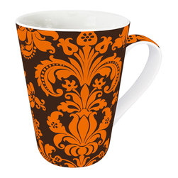 Konitz - Orange Rocaille Mugs, Set of 4 - The Orange Rocaille Mug is decorated with French-inspired artistic designs. Elaborate orange scroll motifs on a dark brown background.