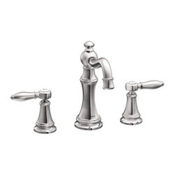 Moen - Moen TS42108 Chrome Weymouth Double Handle Widespread Bathroom Faucet - Product Features:Metal faucet body construction ensures durability and reliability for the life of the faucetCovered under Moen s limited lifetime faucet warrantyPremier finishing process - finishes will resist corrosion and tarnishing through everyday useA sense of uncommon luxury is brought forth in the Weymouth CollectionWith its elegant, traditional design details and distinctive finishing touches Weymouth is sure to bring warmth to any homeDouble handle operation - handles rest on 1/4 turn valvesADA compliant - complies with the standards set forth by the Americans with Disabilities Act for bathroom faucetsLow lead compliant - meeting federal and state regulations for lead contentWaterSense certified product - using at least 30% less water than standard 2.2 GPM faucets, while still meeting strict performance guide linesComplete with required valve systemDesigned for use with standard US plumbing connectionsAll hardware needed for mounting is included with faucetProduct Technologies / Benefits:M-PACT Common Valve System: This innovation from Moen gives the homeowner the up-most functionality and convenience when it comes to bathroom faucets. Designed to be a catch-all valve system, once M-PACT is installed you can upgrade the style of the lavatory or shower faucet without replacing nay of the faucet plumbing.WaterSense/Eco-Performance: To help make a difference on a global scale and further its role as industry leaders in eco-performance practices, Moen has established partnerships with a number of environmental organizations, including WaterSense. As of January 2009 all Moen bathroom faucets feature flow optimizing aerators; meaning they use less water, without sacrificing product performance.Product Specifications: