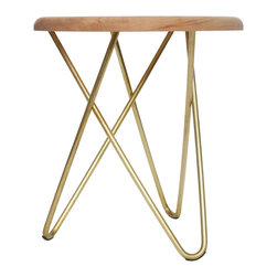 Ampersand - Delta Stool, Hard Maple Top With Brass Legs - Perplexing in its simplicity, Delta appears unbalanced, yet stands strong in its construction. Its structure is formed by three hairpin legs that sturdily interlock, requiring no hardware or adhesives. Delta stools can be found as humble side seating, or tables, in living spaces, meeting areas, waiting rooms, lobbies, and bedrooms. They are also excellent in retail and educational environments. Hand-made by Ampersand in Cincinnati, OH from locally-sourced black walnut or hard maple and American-made stainless steel or brass.