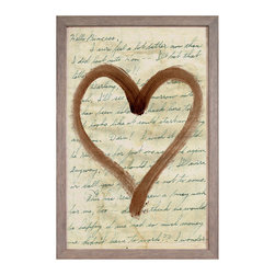 Love Letters Collection, brown: Heart - Sweet, intimate, and charming, this rectangular art print features a romantic brushed heart painted in brown shoe polish for a softly rustic, bewitching transitional effect.  In a layer behind the central shape, the sweet words of a vintage hand-written love letter spell out their affectionate message across an aged parchment background.  The wall art piece is enclosed in a weathered grey wood frame to complete its neutral-colored, finely textured palette.