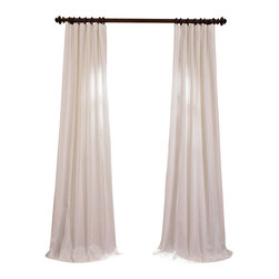 """Exclusive Fabrics & Furnishings, LLC - Aged White Cotton Twill Curtain - 100% Cotton. 3"""" Pole Pocket with Hook Belt & Back Tabs. Lined . Imported. Weighted Hem. Dry Clean Only."""