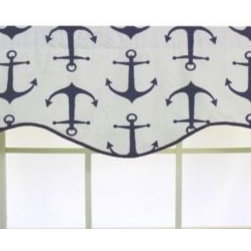 Rl Fisher - RL Fisher Anchors Away Cornice Valance - This nautical-themed valance features a printed design of deep Navy blue anchors. The pattern is printed on 100% cotton. The valance also features an attractive, scalloped hem with twisted cord trim.