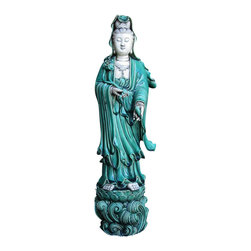 Golden Lotus - Tall Unique Chinese Green Porcelain Standing Peaceful KwanYin Statue - Tall Unique Chinese Green Porcelain Standing Peaceful KwanYin Statue