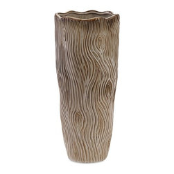 iMax - Landis Small Ceramic Vase - Timber, get ready to fall for this small ceramic vase with a natural, branch-like texture and fluted mouth.