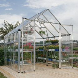 Palram - Palram Snap & Grow 8 x 8 ft. Greenhouse - HG8008 - Shop for Greenhouses from Hayneedle.com! Additional FeaturesUpscale and beautiful greenhouse is easy to assemblePanels are virtually unbreakable and 100% UV protectedAdjustable roof vent allows for cross ventilationAmple headroom for taller plantsYour choice of frame colorAssembles in about a day with very few toolsLimited 5 year warrantyEnjoy being surrounded by lush plants bright flowers and delicious produce with the Palram Snap & Grow 8 x 8 ft. Greenhouse. This upscale and beautiful greenhouse is easy to assemble and features crystal-clear SnapGlas panels which are 100% UV protected and virtually unbreakable. Designed to lock into place easily this greenhouse can be assembled in about a day with the use of very few tools. The heavy duty aluminum frame is strong and durable and the height of this greenhouse will insure you have plenty of growing space. The large double doors along with the adjustable roof vent provide ample ventilation to help keep your plants healthy and strong. Available in your choice of frame color this greenhouse has a limited five year warranty.