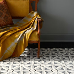 Silk Road Collection - Edie - Edie, a stone waterjet mosaic shown in Nero, Bardiglio, Thassos, and Carrara, is part of the Silk Road Collection by Sara Baldwin for New Ravenna Mosaics.