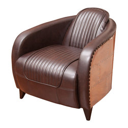 Great Deal Furniture - Avion Brown Leather Club Chair, Brown W/ Aluminum Sheath - Inspired by mid 20th century fighter planes this chair is a state of the art accent piece to any room.