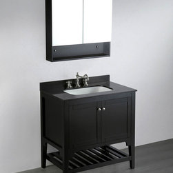 "Bosconi - 33"" SB-250 Contemporary Single Vanity - Black - A soft-close cabinet is the unique feature of this Bosconi Single Vanity; a neat and efficient design for those who seek convenience along with style while focusing on generous amounts of storage space and versatility. Store large-sized items and accessories inside on the lower rack in a solid wood-frame that can withstand the test of time and retain a modern look and matching the general design of your bathroom. With solid Black finish and Black Granite top, in addition to matching two door medicine cabinet."