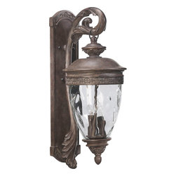Quorum Lighting - Quorum Lighting Georgia Traditional Outdoor Wall Sconce X-34-4-0047 - Enhance the look of your home with this Quorum Lighting Georgia Traditional Outdoor Wall Sconce. It features a frame in an attractive, Etruscan sienna finish with a gently curved arm with leaf details that supports a clear hammered glass diffuser. It's an elegant, four-light, 30-inch-tall piece that will definitely take command of any outdoor space.