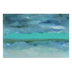 """Breakthru , Original, Painting - 24"""" x 36"""" eco-friendly oil painting by gallery fine artist, michele morata. poetic art statement: celebrate breakthru - today, tomorrow & always. may be flipped for different d?��_cor effects.  breakthru is a one-of-a-kind contemporary surreal landscape, seascape, or pure abstract/modern using only organic art mediums healthy for our homes, offices, and earth. 1.5"""" thick museum wrap canvas with black painted edges. eco-friendly archival matte glaze invented by michele morata completes this unique artwork.  my original paintings are featured in fine art galleries, private and corporate art collections, as well as movie sets, tv shows/commercials, and book covers. breakthru is part of my poetry with oil series. the poetic statement comes with the certificate of authenticity.  main shades of colors: ice green (featured) with dark blue, blue, grey-blue, grey, white, black, brown, cream taupe (flesh shade) * brand new work - available dry ship end of july !"""