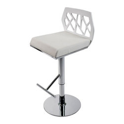 Eurø Style - Sophia Bar / Counter Stool in White - This refreshing Sophia Bar/Counter Stool in White is modern and stylish and has every design aspect you want! Due to the adjustable seat, it acts as both a bar or counter stool! Also features intriguing stylized cutouts.