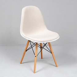 Modern Classics - Eames: Molded Fiberglass Side Chair Reproduction - Upholstered - Features: