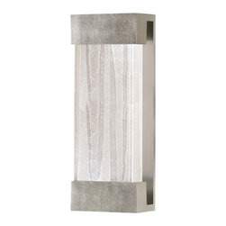Fine Art Lamps - Crystal Bakehouse Clear Crystal Sconce, 810950-33ST - Rugged yet refined, this handsome wall sconce can be used indoors or out. The sleek, bronze, silver or silver-leafed bracket supports a hand-crafted block of crystal shards, which emits a soft, serene glow from the CFL bulbs secured at either end.
