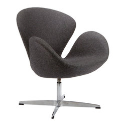 Modern Curved Swivel Chair in Gray - Inspired by mid-century modern furniture design principles, the Modern Curved Swivel Chair is comfortable, functional, and aesthetically pleasing. Settle into its cocoon-like seat and enjoy its swivel function. Take the chair from home office to living room and bedroom with ease.
