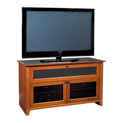BDI - Novia 8428 Freestanding TV Stand - This media center is a showstopper all on its own! The natural cherry color and smoked glass windows add a contemporary feel and the hidden wheels allow mobility. Ventilation and cable management keep your electronics cool and wires neat and tidy.