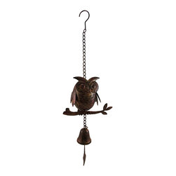 Zeckos - Decorative Metal Owl Mottled Finish Wind Chime Sculpture - This owl is so wise, he'll even alert you when the wind blows Crafted from tin with a cast iron bell, this mottled finish owl will delight you while bringing your garden to life with a beautiful melodic chime Measuring 8 inches (20 cm) wide, 4 inches (10 cm) deep and 15 inches (38 cm) high, it has an included 10 inch metal chain with a hook for easy hanging on your porch, patio or near the pool This whimsical owl wind chime would make a wonderful gift for any owl loving friend, or just to keep for yourself