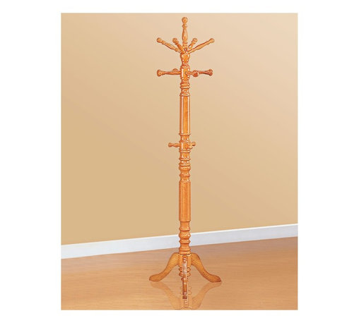 "Coaster - ""Coaster Coat Rack, Oak"" - ""Coat rack with top rotating arms in an oak finish.Dimensions (W x L x H): 19.75"""" x 19.75"""" x 72.75""""Finish/Color: OakAssembly Required: NoMade in Taiwan"""