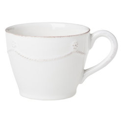 """Juliska - Juliska Berry and Thread Tea-Coffee Cup Whitewash - Juliska Berry and Thread Tea/Coffee Cup Whitewash. Add a subtle splash of elegance to your daily routine with this charming cup that is perfectly sized for coffee or tea. Dimensions: 4"""" W x 3"""" H Capacity: 10 oz"""