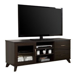 South Shore - South Shore Caraco TV Stand in Mocha - South Shore - TV Stands - 4079677 - This TV stand from the Caraco collection with its timeless elegance also features wooden legs and nicely worked edges that will enhance the rooms d��cor. The look of this piece - a blend of the modern and the Traditional - gives it a refined classical