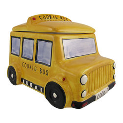 Zeckos - Yellow School Bus Ceramic Cookie Jar - This incredibly cute bright yellow ceramic school bus cookie jar really brightens up a kitchen. The jar measures 6 inches tall, 8 inches long, and 6 inches deep. It makes a great gift for bus drivers and teachers, and can also be used to store dog treats.