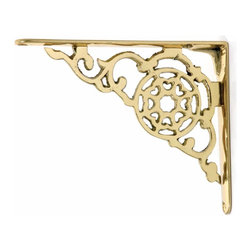 Renovators Supply - Shelf Brackets Bright Solid Brass Shelf bracket - Brass shelf brackets.  Sold in pairs.  Small is 6-1/8 in. x 4-7/8 in.