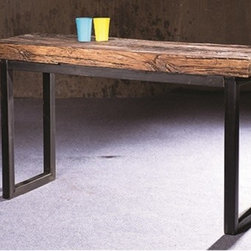 """Bark Rustic Wood Console Table - Bark Rustic Wood Console Table. This fantastic table features weathered recycled railroad hardwoods in a natural finish standing on a black iron frame. Dimensions: 16""""D x 52""""W x 30""""H"""