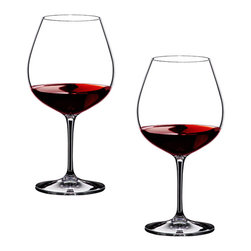 Riedel - Riedel Vinum Pinot Noir/Burgundy Red Glasses - Set of 2 - The Vinum Burgundy glass is excellent for full-bodied red wines (more than 12.5 percent alcohol) with high acidity and moderate tannin. This glass directs the flow of wine onto the zone of the tongue which perceives sweetness, thereby highlighting the rich fruit and tempering the high acidity of the wine. The large bowl captures all the nuances of the wine's aroma. NOTE: Although this glass is quite differently shaped from the equivalent Sommeliers glass, the Burgundy Grand Cru (4400/16), both designs are as effective in bringing out the character of the wine because they control the flow of the wine onto the palate in the same manner. Recommended for: Barbaresco, Barolo, Beaujolais Cru, Blauburgunder, Burgundy (red), Chambolle Musigny, Echézeaux, Gamay, Moulin � vent, Musigny, Nebbiolo, Nuits Saint Georges, Pinot Noir, Pommard, Romanée Saint Vivant, Santenay, St. Laurent, Volnay, Vosne-Romanée, Vougeot