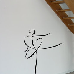 StickONmania - Woman Dancing Contour Design Sticker - A cool vinyl decal wall art decoration for your home  Decorate your home with original vinyl decals made to order in our shop located in the USA. We only use the best equipment and materials to guarantee the everlasting quality of each vinyl sticker. Our original wall art design stickers are easy to apply on most flat surfaces, including slightly textured walls, windows, mirrors, or any smooth surface. Some wall decals may come in multiple pieces due to the size of the design, different sizes of most of our vinyl stickers are available, please message us for a quote. Interior wall decor stickers come with a MATTE finish that is easier to remove from painted surfaces but Exterior stickers for cars,  bathrooms and refrigerators come with a stickier GLOSSY finish that can also be used for exterior purposes. We DO NOT recommend using glossy finish stickers on walls. All of our Vinyl wall decals are removable but not re-positionable, simply peel and stick, no glue or chemicals needed. Our decals always come with instructions and if you order from Houzz we will always add a small thank you gift.