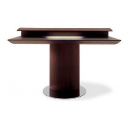 Tobia Desk - This incredible desk stands on a pedestal and reminds me of a John Lautner house.