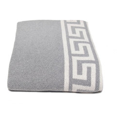 in2green - Eco Greek Key Throw, Aluminum - This beautiful solid throw with a classical design border will add both style and warmth to any room