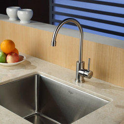 Kraus - Kraus KHU101-23-KPF2160-SD20 Single Basin Undermount Kitchen Sink with Faucet Mu - Shop for Kitchen from Hayneedle.com! Simple elegance makes the Kraus KHU101-23-KPF2160-SD20 Single Basin Undermount Kitchen Sink with Faucet a stunning addition to your kitchen set. The arching faucet operates smoothly with just a single handle. Since this set is made from stainless steel it has the durability to take on corrosion without fail.Product SpecificationsBowl Depth (inches): 10Weight (pounds): 24Low Lead Compliant: YesEco Friendly: YesMade in the USA: YesHandle Style: LeverValve Type: Ceramic DiscFlow Rate (GPM): 2.2Spout Height (inches): 9Spout Reach (inches): 7.5About KrausWhen you shop Kraus you'll find a unique selection of designer pieces including vessel sinks and faucet combinations. Kraus incorporates its distinguished style with superior functionality and affordability while maintaining highest standards of quality in its vast product line. The designers at Kraus are continuously researching and exploring broader markets seeking new trends and styles. Additionally durability and reliability are vital components at Kraus for developing high-quality fixtures. Every model undergoes rigorous testing and inspection prior to distribution with customer satisfaction in mind. Step into the Kraus world of plumbing perfection. With supreme quality and unique designs you will reinvent how you see your bathroom decor. Let your imagination become reality!