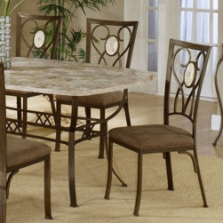 Hillsdale Brookside Oval Fossil Back Dining Chair-Set of 2-Brown Powder Coat - This Brookside Set of 2 Oval Fossil Back Brown Powder Coat Dining Chairs features a classic stance along with graceful modern details. Each chair is crafted from solid steel for durability and strength and features a brown powder-coat for added warmth and depth. The back of each chair features delicately scrolled metalwork and a lustrous oval fossilstone centerpiece. Finally the light brown seat upholstery is 100 percent terelyne microsuede making it both ultra-soft and easy to care for and clean. Measures 19L x 16W x 39.5H inches. About Hillsdale FurnitureLocated in Louisville Ky. Hillsdale Furniture is a leader in top-quality affordable bedroom furniture. Since 1994 Hillsdale has combined the talents of nationally recognized designers and globally accredited factories to bring you furniture styling and design from around the globe. Hillsdale combines the best in finishes materials and designs to bring both beauty and value with every piece. The combination of top-quality metal wood stone and leather has given Hillsdale the reputation for leading-edge styling and concepts.