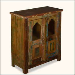 Two Window Reclaimed Wood Standing Night Stand End Table Cabinet -