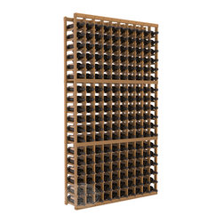 10 Column Standard Cellar Kit in Redwood with Oak Stain + Satin Finish - This rack is vital to any serious wine collector. Rock solid assembly of high grade pine or redwood is guaranteed to last. Designed for expandability, stability and rigidity; we don't top-load an extra bottle to meet our specs.