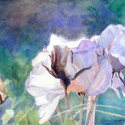"""""""White Roses In Shade"""" (Original) By Greta Corens - The Stark Bright White Contrast Displayed Against The Rose' S Warm Violet And Sienna Shadows Against A Subtle Pastel Background Struck My Spirit With Wonderment."""